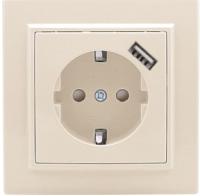 Розетка EKF Минск СП 1-м 16А / ERR16-028-200-USB (бежевый) -