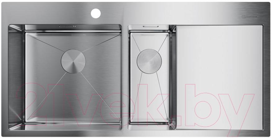 Купить Мойка кухонная Omoikiri, Akisame 100-2-IN-L (4973544), Япония, нержавеющая сталь с PVD-покрытием