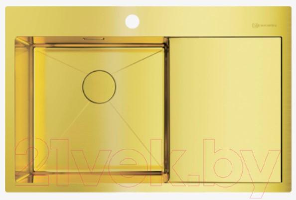 Купить Мойка кухонная Omoikiri, Akisame 78-LG-L (4973085), Япония, нержавеющая сталь с PVD-покрытием
