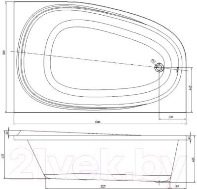 Ванна акриловая Ventospa Like LA 170x110 R