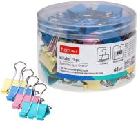 Зажим для бумаги Hatber BC_059118 (48шт, цветной) -