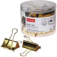 Зажим для бумаги Hatber BC_059167 (12шт, золото) -