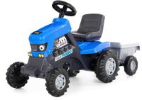 Каталка детская Полесье Turbo Трактор с педалями и полуприцепом / 84637 (синий) -