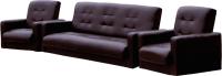 Комплект мягкой мебели Экомебель Аккорд экокожа 187x120 (коричневый) -