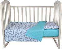 Детское постельное белье Alis Спокойной ночи 3 / 1103 (Микки серый/горох голубой) -