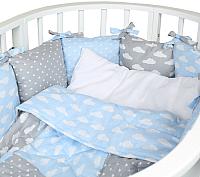 Комплект в кроватку Alis Кубики 5 (бязь премиум, серо-голубой) -