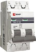 Выключатель автоматический EKF ВА 47-63 2P 63А (C) 4.5kA PROxima / mcb4763-2-63C-pro -