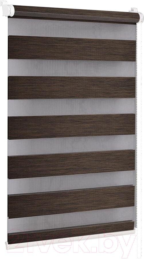 Купить Рулонная штора Delfa, Сантайм День-Ночь Натур МКД DN-4305 (34x160, шоколад), Беларусь, ткань