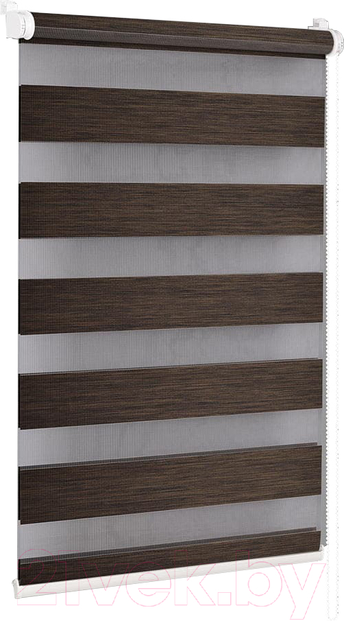 Купить Рулонная штора Delfa, Сантайм День-Ночь Натур МКД DN-4305 (52x160, шоколад), Беларусь, ткань