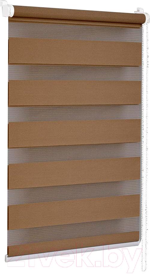 Купить Рулонная штора Delfa, Сантайм День-Ночь Стандарт МКД DN-41025 (62x160, шоколад), Беларусь, ткань