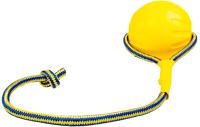 Игрушка для собак Duvo Plus Мяч на веревке / 11292/DV (желтый) -