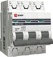 Выключатель автоматический EKF ВА 47-63 3P 16А (C) 4.5kA PROxima / mcb4763-3-16C-pro -