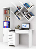 Комплект мебели для кабинета MFMaster Милан УШ-3-02 / Милан-3-02-БТ-16 (белый) -