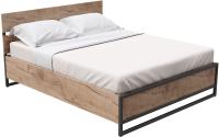 Двуспальная кровать Millwood Neo Loft КМ-4.6 Л (дуб табачный/металл черный) -