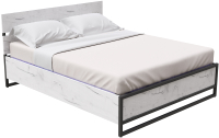 Двуспальная кровать Millwood Neo Loft КМ-4.6 Л (дуб белый/металл черный) -