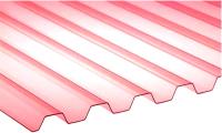 Монолитный поликарбонат Ondex Ecolux 2000x1095мм 70/18 трапеция (прозрачный, красный) -