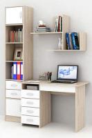 Комплект мебели для кабинета MFMaster Милан УШ-1-02 / Милан-1-02-СБ-16 (дуб сонома/белый) -
