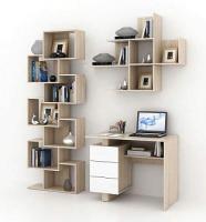Комплект мебели для кабинета MFMaster Ренцо УШ-1-04 / Ренцо-1-04-СБ-02 (дуб сонома/белый) -