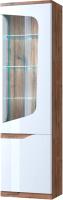Шкаф-пенал с витриной Anrex Evora 1V1D P (веллингтон/белый глянец) -