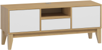 Тумба Woodcraft Гарленд 10005 (дуб сантана золотистый/белый шагрень) -