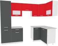 Готовая кухня ВерсоМебель Эко-5 1.2x2.6 правая (антрацит/красный чили) -