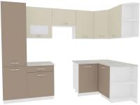 Готовая кухня ВерсоМебель Эко-5 1.3x2.7 правая (латте/бежевый) -