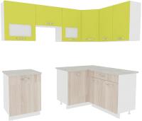 Готовая кухня ВерсоМебель Эко-5 1.4x2.2 правая (ясень шимо светлый/зеленый лайм) -