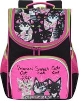 Школьный рюкзак Grizzly RAm-084-5 (черный/розовый) -