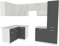 Готовая кухня ВерсоМебель Эко-5 1.4x2.6 левая (дуб крафт белый/антрацит) -