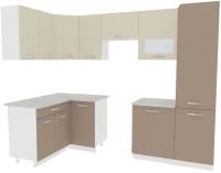 Готовая кухня ВерсоМебель Эко-5 1.4x2.6 левая (латте/бежевый) -