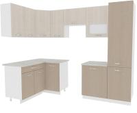 Готовая кухня ВерсоМебель Эко-5 1.4x2.6 левая (крослайн латте/крослайн карамель) -