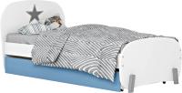 Односпальная кровать Polini Kids Mirum 1915 c ящиком (белый/голубой) -