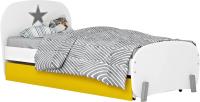 Односпальная кровать Polini Kids Mirum 1915 c ящиком (белый/желтый) -