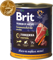 Корм для собак Brit Premium By Nature Beef & Liver / 40216 (850г) -