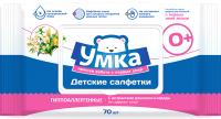 Влажные салфетки детские УМКА Рифленая ткань с клапаном (70шт) -