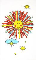 Декоративная плитка Сокол Солнечный круг D674B1R (200x330, белый) -
