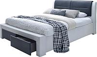Двуспальная кровать Halmar Cassandra-S 140x200 (белый/черный) -