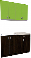 Готовая кухня Хоум Лайн Агата 1.2 (венге/зеленая мамба) -