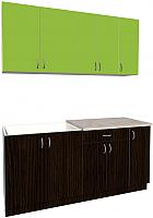 Готовая кухня Хоум Лайн Агата 1.7 (венге/зеленая мамба) -