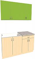 Готовая кухня Хоум Лайн Агата 1.4 (дуб молочный/зеленая мамба) -