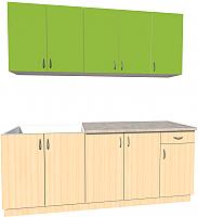 Готовая кухня Хоум Лайн Агата 2.0 (дуб молочный/зеленая мамба) -