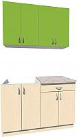 Готовая кухня Хоум Лайн Агата 1.2 (файнлайн крем/зеленая мамба) -