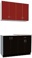 Готовая кухня Хоум Лайн Агата 1.2 (черный/красный) -