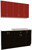Готовая кухня Хоум Лайн Агата 1.5 (черный/красный) -