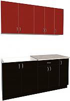 Готовая кухня Хоум Лайн Агата 1.7 (черный/красный) -
