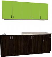 Готовая кухня Хоум Лайн Агата 2.0 (венге/зеленая мамба) -