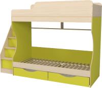Двухъярусная кровать Можга Капризун 6 с ящиками / Р443 (лайм) -