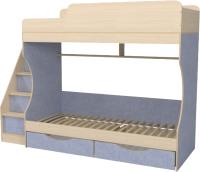 Двухъярусная кровать Можга Капризун 6 с ящиками / Р443 (лен голубой) -