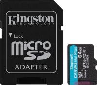 Карта памяти Kingston Canvas Go Plus microSDXC 64GB + SD адаптер (SDCG3/64GB) -
