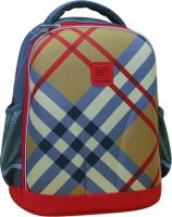 Школьный рюкзак Mike&Mar 1010-4 (бежевая клетка/красный кант) -